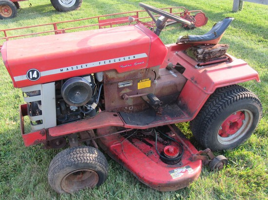 Massey-Ferguson 14 Hydro Speed Garden Tractor with Belly Mower. Non Running.