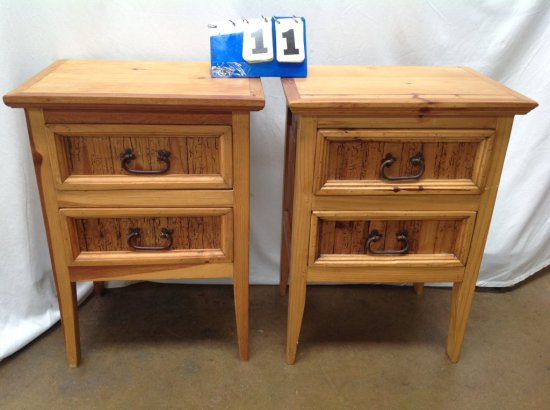 RUSTIC 2 DRAWER PINE SIDE TABLES WITH METAL HANDLES