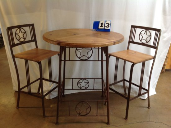 RUSTIC TEXAS STAR PUB TABLE WITH 2 CHAIRS