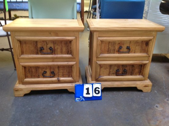 RUSTIC PINE 2 DRAWER SIDE TABLES WITH METAL HANDLES