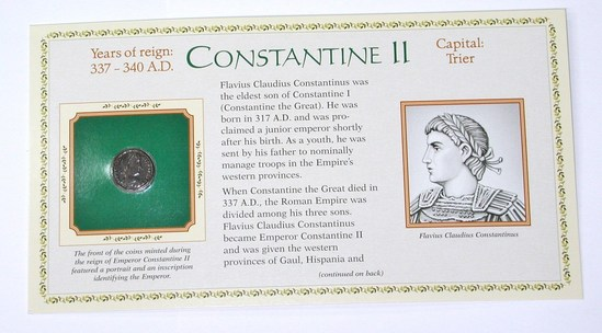 ANCIENT ROME - CONSTANTINE II - 337-340 AD - ON CARD