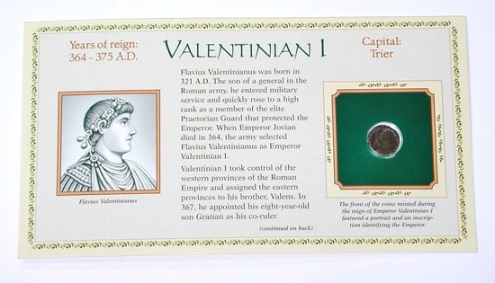 ANCIENT ROME - VALENTINIAN 1 - 364-375 AD - ON CARD