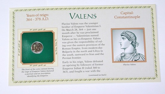 ANCIENT ROME -  VALENS - 364-378 AD - ON CARD