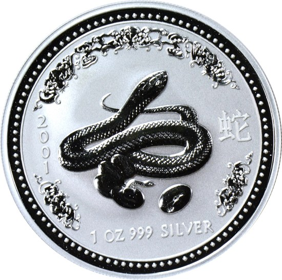 AUSTRALIA - 2001 YEAR OF THE SNAKE 1 OZ SILVER DOLLAR