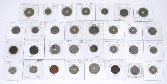 BELGIUM - 31 COINS DATED BEFORE 1940