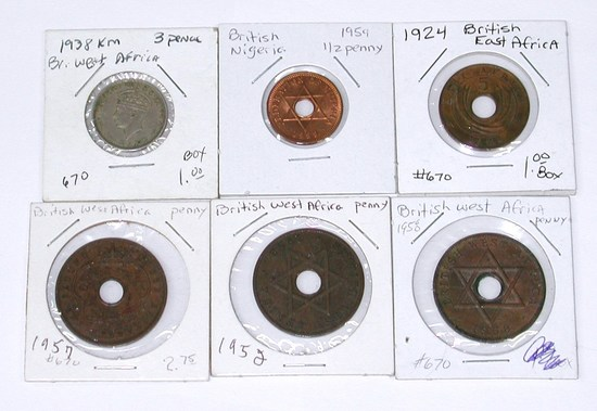 BRITISH EAST & WEST AFRICA - 6 COINS