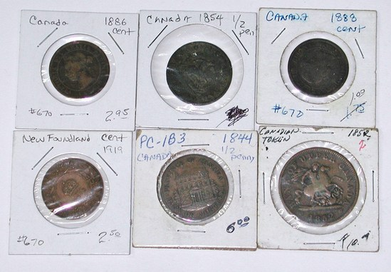 CANADA - SIX (6) COPPER COINS from 1844 to 1919