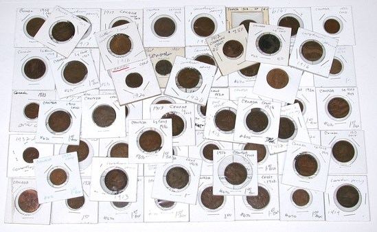 CANADA - 61 LARGE & SMALL CENTS from 1900 to 1933