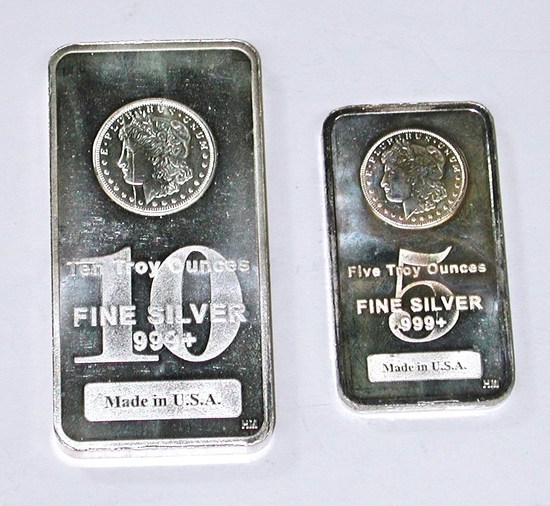 FIVE (5) and TEN (10) TROY OUNCE SILVER BARS - 15 TROY OZ TOTAL