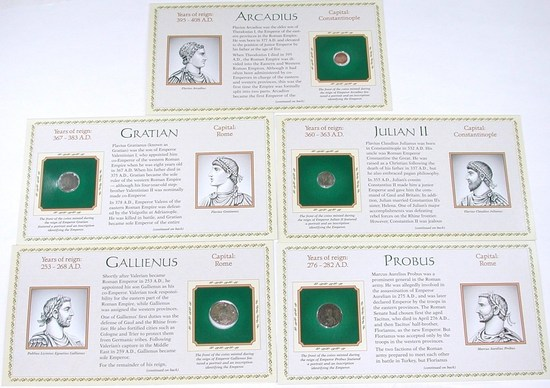 FIVE (5) ANCIENT COINS on INFORMATIVE CARDS
