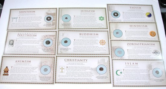 10 EARLY RELIGIOUS COINS on INFORMATIVE CARDS