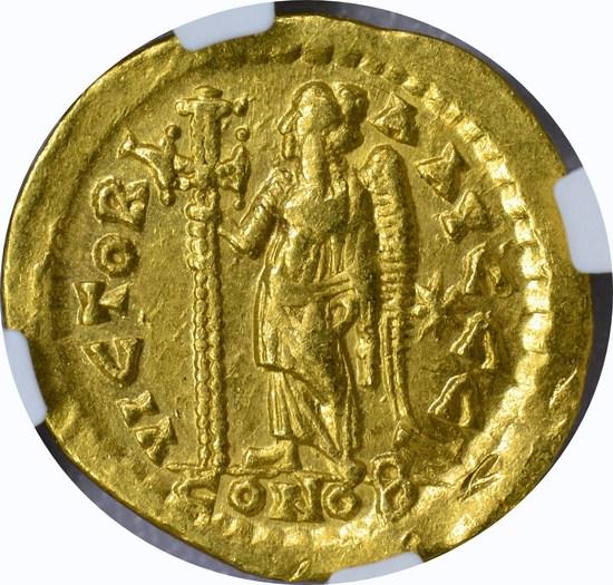 EAST. ROMAN EMPIRE - LEO I GOLD AV SOLIDUS - 457-474 AD - NGC AU