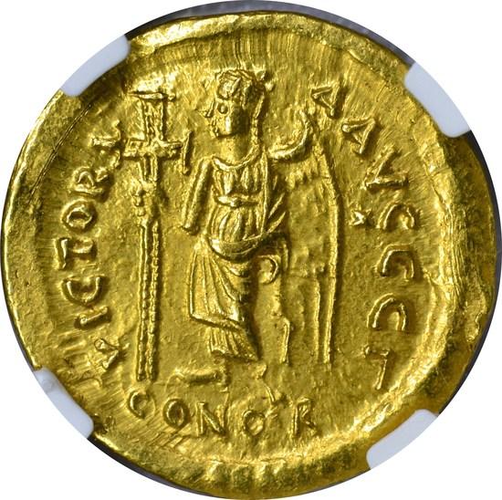 EAST. ROMAN EMPIRE - ZENO 1 GOLD AV SOLIDUS - 474-491 AD - NGC CHOICE AU