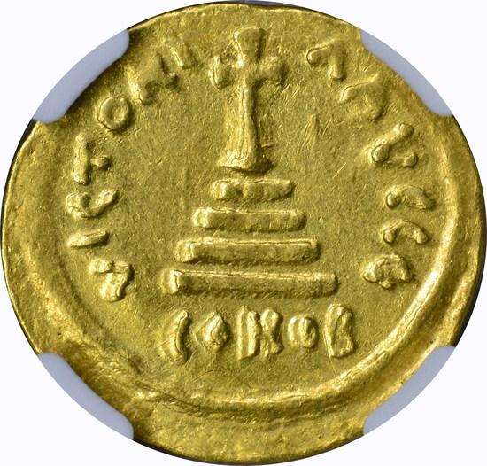 BYZANTINE - TIBERIUS II CONSTANTINE GOLD AV SOLIDUS - 574-582 AD - NGC AU