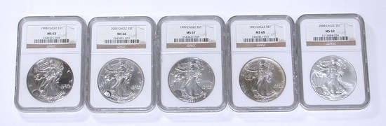FIVE (5) SILVER EAGLES in NGC HOLDERS - MS65, MS66, MS67, MS68, MS69