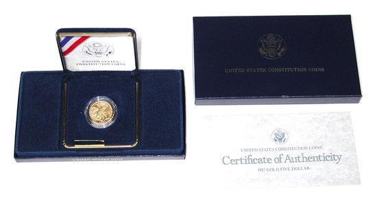 1987 CONSTITUTION UNCIRCULATED $5 GOLD COIN in BOX