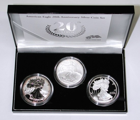2006 AMERICAN EAGLE 20th ANNIVERSARY 3-COIN SET in BOX