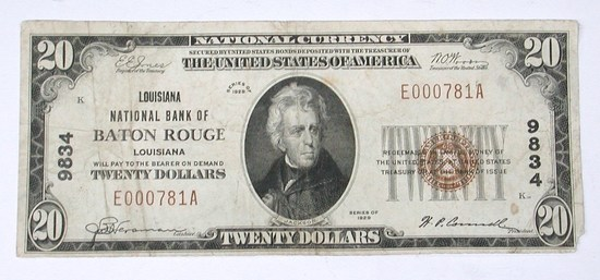 1929 $20 NATIONAL CURRENCY - NATIONAL BANK of BATON ROUGE, LOUISIANA