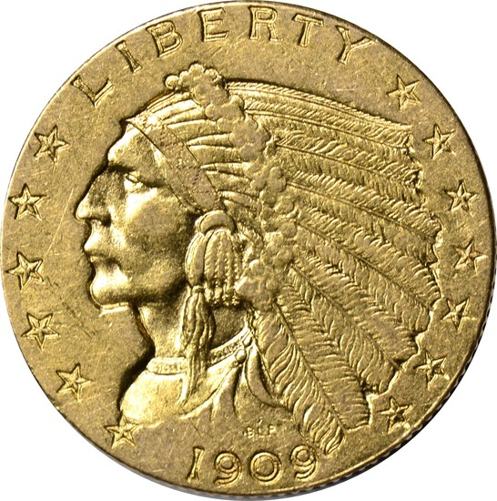 1909 $2.50 INDIAN HEAD GOLD PIECE