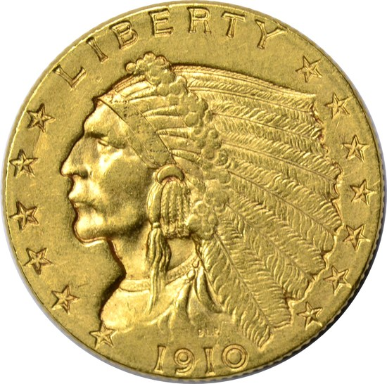 1910 $2.50 INDIAN HEAD GOLD PIECE