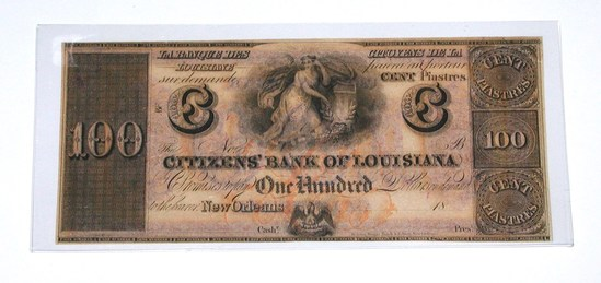 1860s OBSOLETE CITIZENS BANK of LOUISIANA NEW ORLEANS $100 NOTE