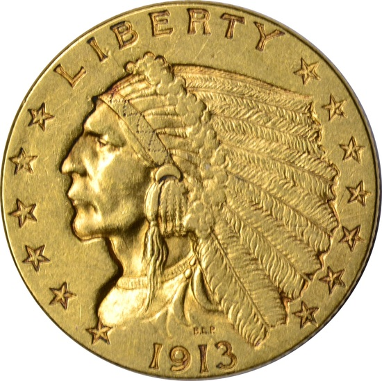 1913 $2.50 INDIAN HEAD GOLD PIECE