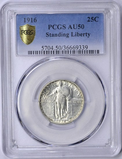 1916 STANDING LIBERTY QUARTER - PCGS AU50 - SECURE HOLDER