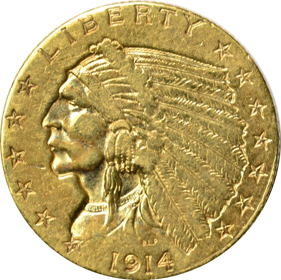 1914 $2.50 INDIAN HEAD GOLD PIECE