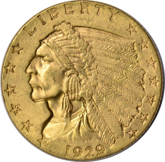 1929 $2.50 INDIAN HEAD GOLD PIECE