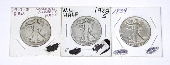 THREE (3) BETTER WALKING LIBERTY HALVES - 1917-S REV, 1928-S, 1934