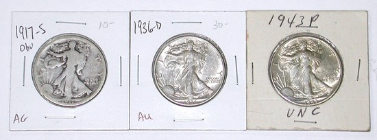 THREE (3) WALKING LIBERTY HALVES - 1917-S OBV, 1936-D, 1943