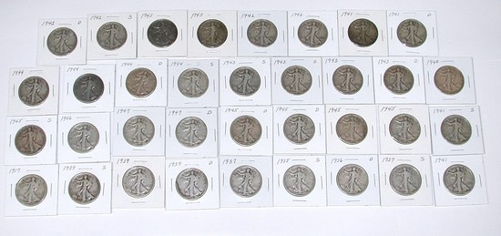 35 WALKING LIBERTY HALVES in 2x2 HOLDERS - 1917 to 1947