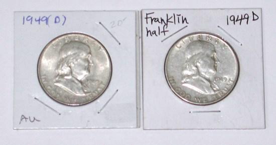 TWO (2) 1949-D FRANKLIN HALVES
