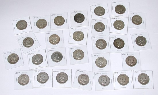 28 FRANKLIN HALVES in 2x2 HOLDERS - 1948 to 1963-D