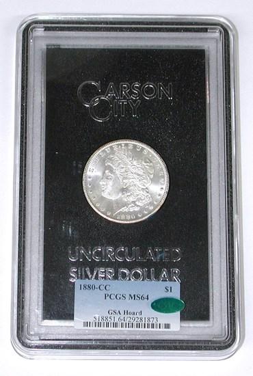 1880-CC MORGAN DOLLAR - GSA HOARD - PCGS MS64 - CAC STICKER