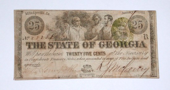 JANUARY 1, 1863 STATE of GEORGIA CONFEDERATE 25 CENT NOTE