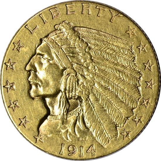 1914-D INDIAN HEAD $2.50 GOLD PIECE