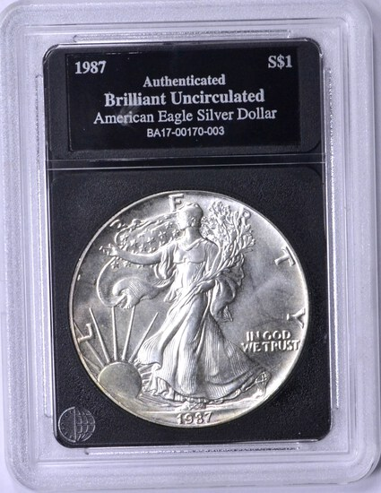 1987 UNCIRCULATED SILVER EAGLE in HOLDER