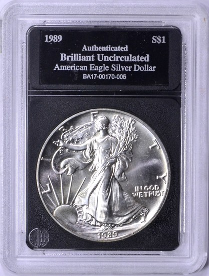 1989 UNCIRCULATED SILVER EAGLE in HOLDER