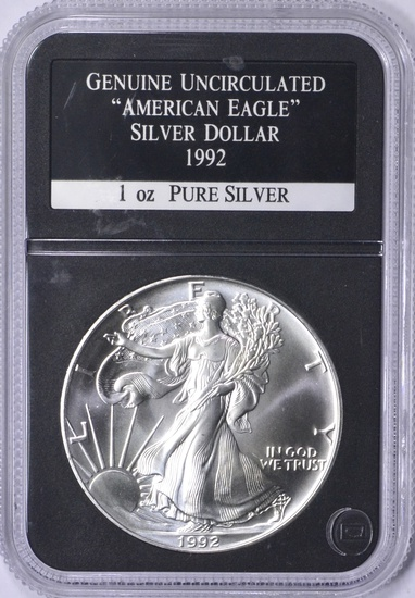 1992 UNCIRCULATED SILVER EAGLE in HOLDER