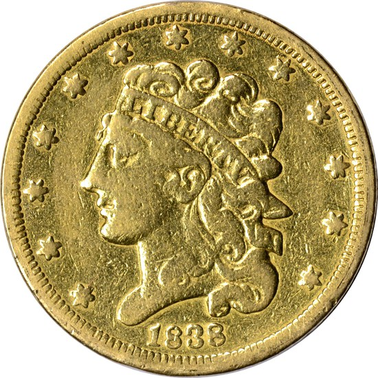 1838 CLASSIC HEAD $5 GOLD PIECE
