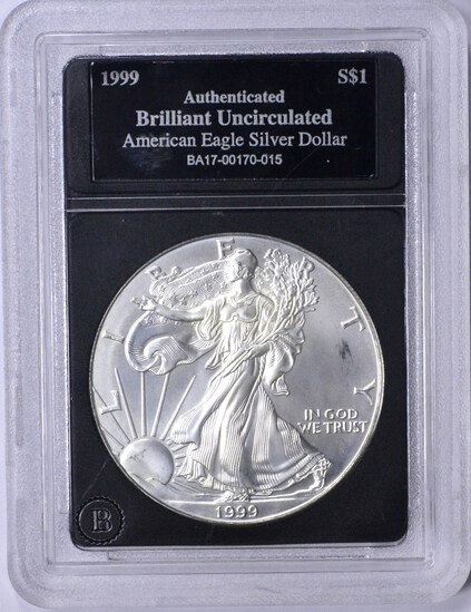 1999 UNCIRCULATED SILVER EAGLE in HOLDER