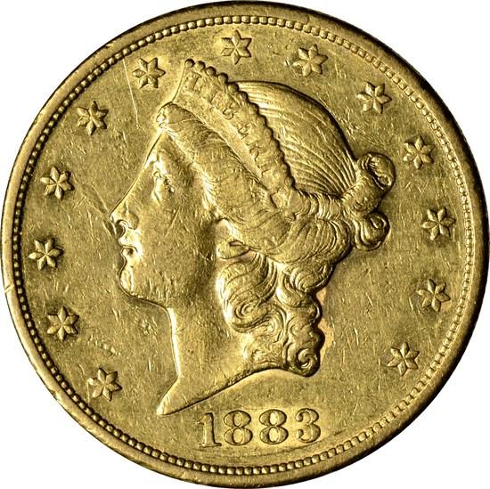 1883-S LIBERTY HEAD $20 GOLD PIECE - ATTRACTIVE NEAR UNC