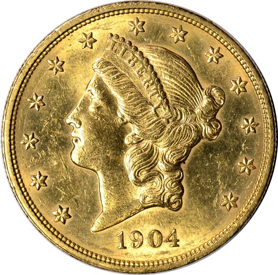 1904 LIBERTY HEAD $20 GOLD PIECE - UNCIRCULATED