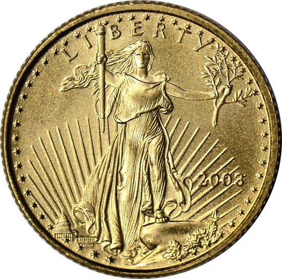2003 $5 GOLD EAGLE - 1/10 TROY OUNCE FINE GOLD