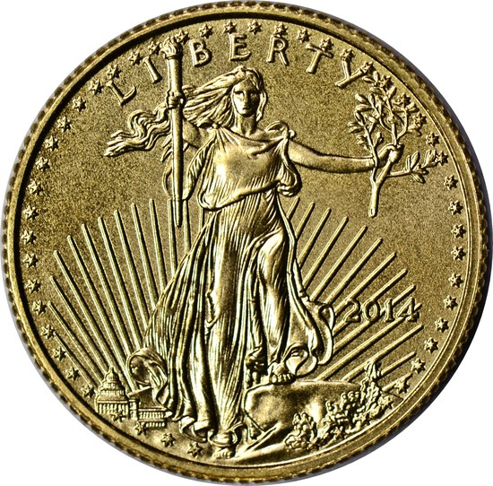 2014 $5 GOLD EAGLE - 1/10 TROY OUNCE FINE GOLD