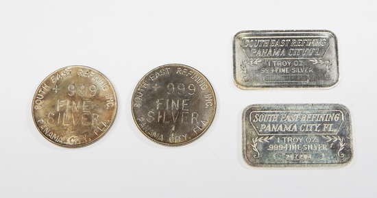 FOUR (4) 1 OZ .999 FINE SILVER BARS & ROUNDS from SOUTH EAST REFINING PANAMA CITY