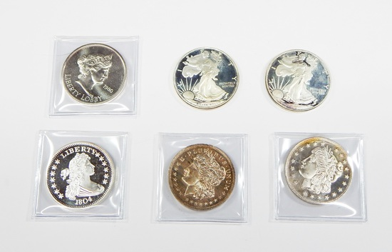 SIX (6) 1 OZ .999 FINE SILVER ROUNDS