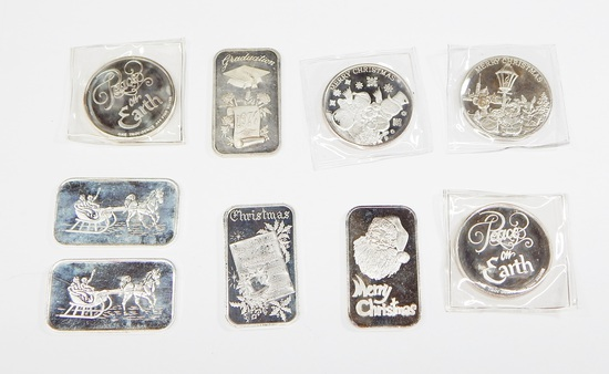 NINE (9) CHRISTMAS & GRADUATION 1 OZ .999 FINE SILVER BARS & ROUNDS