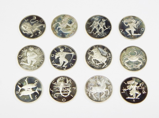 12 COINS of the ZODIAC SET - STERLING SILVER ROUNDS - 5.5 TROY OUNCES